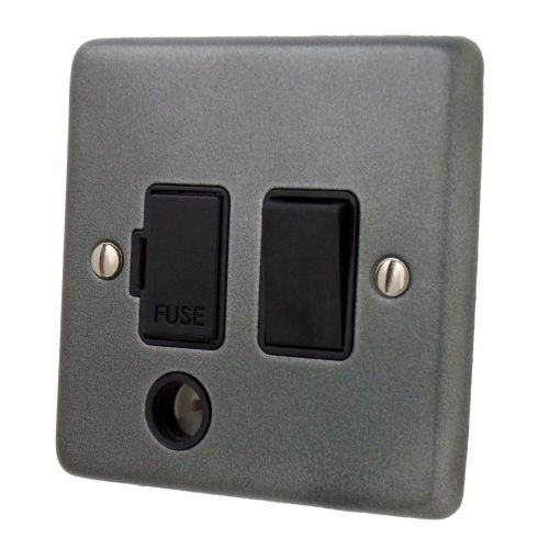 G&H CP56B Standard Plate Pewter 1 Gang Fused Spur 13A Switched & Flex Outlet